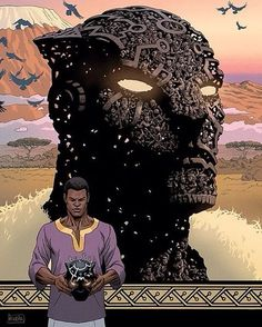The acclaimed writer gave fans a sneak peak at the latest issues of his ongoing Black Panther story arc. Coates paired with comic book artist Paolo Rivera to bring new cover illustrations of Wakanda to life. Marvel Dc, Marvel Comics, Bd Comics, Marvel Heroes, Cosmic Comics, Black Comics, Black Panther Marvel, Black Panther King, Comic Book Heroes