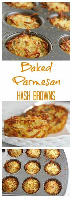 Easy parmesan hash browns baked in muffin cups for crispy edges and soft centers. Easy parmesan hash browns baked in muffin cups for crispy edges and soft centers. Prep the night before and bake in the morning for breakfast or brunch. Weight Watcher Desserts, Breakfast Dishes, Breakfast Casserole, Breakfast Potatoes, Breakfast Muffins, Free Breakfast, Breakfast Fruit, Breakfast Hash Browns, Quick Breakfast Ideas
