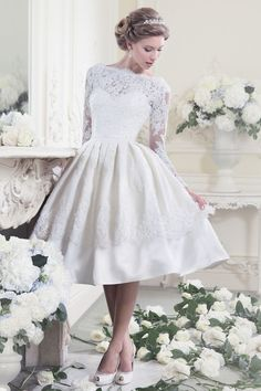 dress up wedding dresses on sale at reasonable prices, buy Vestido De Noiva Curto Elegant Long Sleeve Lace Wedding Dresses Sexy Backless Knee Length Short Wedding Dress Bride Casamento from mobile site on Aliexpress Now! 50s Style Wedding Dress, Short Lace Wedding Dress, Tea Length Wedding Dresses, Backless Wedding, Ivory Wedding, Rockabilly Wedding, Over 50 Wedding Dress, Quirky Wedding Dress, Retro Wedding Dresses