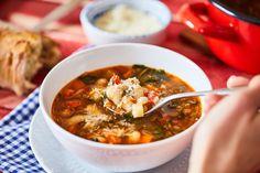 Olasz bableves Bean Soup, Atkins, Chana Masala, Thai Red Curry, Quinoa, Soup Recipes, Chili, Paleo, Eat