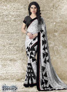 79053e018 Desirable Black and White Coloured Georgette Saree Wedding Lehenga Online
