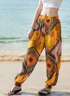 Pantalones y Leggings Pantalones Poliéster Harén - Hippie Pants, Boho Pants, Looks Hippie, Pretty Outfits, Cute Outfits, Look Fashion, Fashion Outfits, Moda Hippie, Casual Outfits