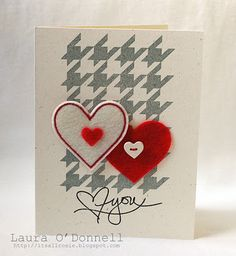 "Adorable card by Laura O'Donnell. The houndstooth background stamp is 40% off (http://www.techniquetuesday.com/merchant2/merchant.mvc?Screen=PROD&Product_Code=Hound&Category_Code=) and the ""heart"" you stamp is only available for a limited time and is designed by Ali Edwards (http://www.techniquetuesday.com/Studio-AE-Membership/SAEBr.html)."