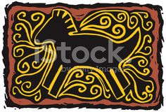 Southwest Horse Petroglyph royalty-free stock vector art