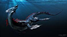 Water Dragon - by Jia Hao - on Artstation Underwater Creatures, Alien Creatures, Ocean Creatures, Mythical Creatures, Water Dragon, Sea Dragon, Dragon Art, Cool Monsters, Sea Monsters