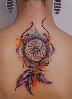 Dreamcatcher Watercolor Tattoo on Back.