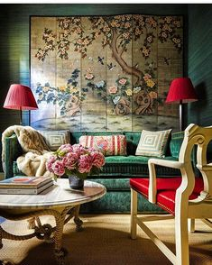 Colorful fabric sofa, living aesthetics in the living room - Page 25 of 26 - slleee Home Design, Home Interior Design, Interior Decorating, Design Art, Asian Interior, Decorating Bedrooms, Decorating Tips, Green Sofa, Green Walls
