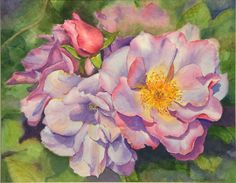 """Roses for Mom"" Memorial Painting – May 2013 – 14″ X 11″ Watercolor by Laura Kirste Designer & Artist"