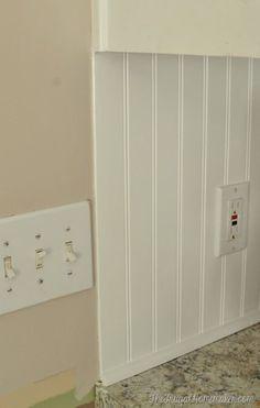How to install a DIY beadboard backsplash (Kitchen Makeover) Paint Backsplash, Beadboard Backsplash, Herringbone Backsplash, Kitchen Backsplash, Backsplash Ideas, Kitchen Cabinets, Mirror Backsplash, Travertine Backsplash, Wood Countertops