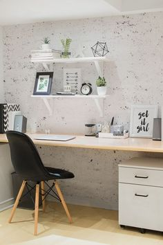 home office vignette with a minimalist style and Scandinavian accents.