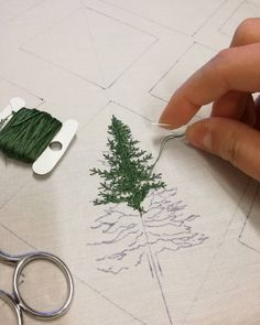 "5,645 Likes, 68 Comments - Professional Embroiderer (@delphil__) on Instagram: ""Future wall decoration Experimentation ✌ . . #sapin #fir #foret #forest #greenlife #simple…"""