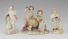 3 SAXONIAN DRESDEN PORCELAIN FIGURES: 3 pieces to include 1) Pair of ''Astronomist'' putti with celestial globe, telescopes and tablet. Blue underglaze mark, 5 3/4'' x. 6'' x 4 1/4''. 2) Cherub with pedestal and flower, ''Un me suffit'' on side. Blue underglaze mark, 5 3/4'' h. x 3''. 3) Child leaning on column with flower in hand. 5 1/4'' h. x 3''. 3 Kids, Children, Dresden China, Dresden Porcelain, Cherubs, China Patterns, Cupid, Pedestal, Snow Globes