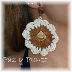 Pendientes crochet y cuero by Pazypunto on Etsy