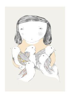 Bird girl print // depeapa // www.botigueta.com