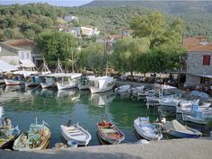 Small fishing boats in the port of Skala Sikaminia, Lesbos. Small Fishing Boats, Empire Ottoman, Boating Holidays, Greece Islands, Top Place, Chapelle, Corfu, Greece Travel, Places To Go