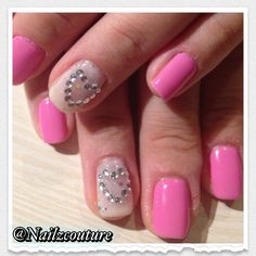 Heart rhinestone nails