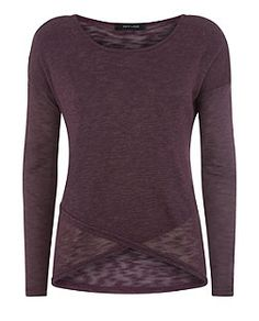 Purple Fine Knit Wrap Front Long Sleeve Top  | New Look