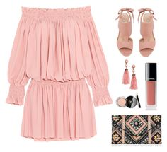 """Blush Pink!"" by diane1234 ❤ liked on Polyvore featuring Casadei, New Look, Norma Kamali, BaubleBar and Chanel"