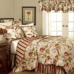 Waverly Charleston Chirp by King Quilt Set, Papaya Striped Bedding, Ruffle Bedding, Chic Bedding, Waverly Bedding, King Size Quilt, Ruffle Bed Skirts, Quilt Sets, E Bay, Bedding Collections
