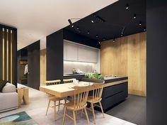 mélange de noire mat, bois et blanc