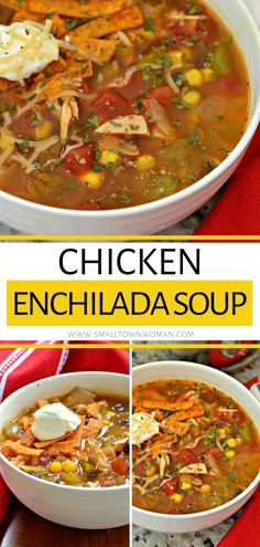 A comfort food fall recipe that comes together quickly with no special skills required! This Chicken Enchilada Soup will quickly become one of your favorite meals. It is delicious and dependable every time! Save this simple fall treat for later! Healthy Recipes, Fall Recipes, Mexican Food Recipes, Soup Recipes, Chicken Recipes, Cooking Recipes, Chinese Recipes, Chili Recipes, Easy Cooking