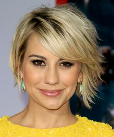 Chelsea Kane - Casual Short Straight Hairstyle. Try on this hairstyle and view styling steps! http://www.thehairstyler.com/hairstyles/casual/short/straight/Chelsea-Kane-blonde-flicked-out-hairstyle