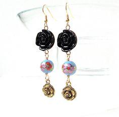 Black Rose Earrings Long Rose Earrings with by sparklecityjewelry