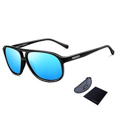 HODGSON Polarized Sunglasses, Aviator Sunglasses 100% UV Protection-Blue - Brought to you by Avarsha.com