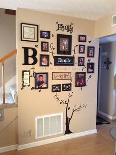 """My """"family"""" tree wall decor Family Tree Picture Frames, Family Trees, Family Tree Wall Decal, Family Wall Decor, Picture Walls, Frame Wall Decor, Country Wall Decor, Frames On Wall, Living Room Decor Ideas Brown"""