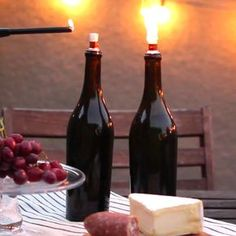Repurpose used wine bottles to make tiki torches for your outdoor gatherings. Filled with citronella fuel, they also keep bugs away.
