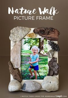 This nature walk picture frame is fun and simple to make, and it becomes a beautiful memory and piece of decor for your home! via Somewhat Simple