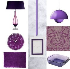 Mura Glass Table Lamp  Pottery Barn's Monogrammable Grosgrain Frame Ornaments, $12.00  Panton Flower Pot Pendant Lamp, $244.  Malabar Wallpaper by Cole and Sons  Pyrex Bakeware Square Dish in Amethyst, $19.99.  Vivid Purple Flokati Rug, $99.99 - $399.99.  Translucent Purple Clock, $24.85.
