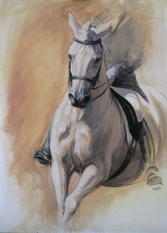 Beautiful Equine horse art dressage by heatherirvinefineart