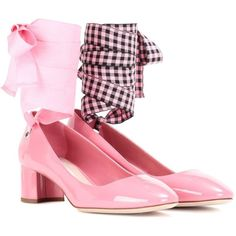 Miu Miu Patent Leather Pumps (€395) ❤ liked on Polyvore featuring shoes, pumps, heels, pink, pink heeled shoes, miu miu shoes, pink patent shoes, miu miu and pink patent pumps