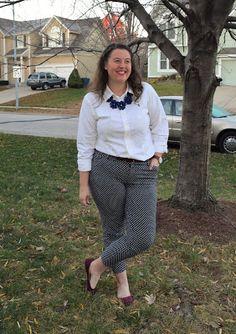 Polka dot pants + white button-down + statement necklace + flats
