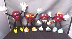 "Lot of 4 Different California Raisins Plush Bendable Figurines, 4-5"" Tall, 1988 #Applause"