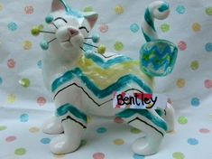 """Bentley"" WhimsiClay Cat with handmade art glass ring, helps animals #WhimsiClay"