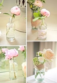 Single stems of peonies and roses