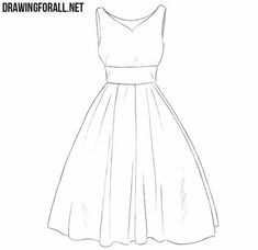 How to Draw a Dress Step by Step for Beginners - Kleidung Ideen Dress Drawing Easy, Dress Design Drawing, Dress Design Sketches, Fashion Design Drawings, How To Draw Dress, How To Draw Clothes, Dress Designs, Dresses To Draw, Drawings Of Dresses