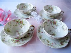 Vintage Haviland Limoges Pink Floral Teacups & by thechinagirl