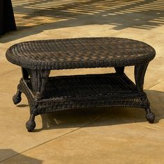Low wicker table for porch