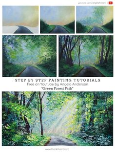 """Angela Anderson Art Blog: """"Green Forest Path"""" Step-By-Step Painting Tutorial - Free on Youtube by Angela Anderson Canvas Painting Tutorials, Acrylic Painting Canvas, Painting Techniques, Diy Painting, Canvas Art, Acrylic Tutorials, Painting Lessons, Nature Paintings, Landscape Paintings"""