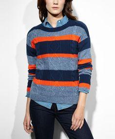 Striped Cable Sweater - Dress Blues - Levi.com