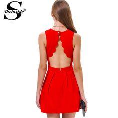 Sheinside vermelho sem mangas na altura do joelho de festa de plissado fora do ombro elegante mulheres novo vestido curto