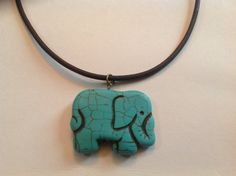 Turquoise elephant necklace by Qoot2Boot on Etsy, $6.00