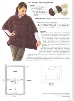 Blusa,poncho e mangote em tricot com receita