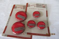 Vintage red and silver art deco buttons.  Mother and daughter set on original cards.
