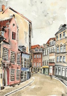 Riga in February 4 x 6 by artquirk on Etsy