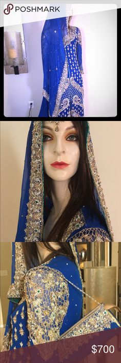 Pakistani wedding dress Pakistani wedding dress, I used on my wedding last September, full beaded , embroidered, super heavy excelent condition, matching clutch included. Dresses Wedding