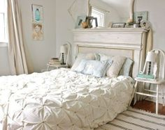 Love this look the headboard and the mirror stunning. Could be Bohemian or shabby chic or French country just mix up your accessories 10 DIY Headboard Ideas (Mix Match Apartment Therapy) Mantle Headboard, Headboard Ideas, Headboard Shapes, Home Bedroom, Bedroom Decor, Master Bedrooms, Light Bedroom, Neutral Bedrooms, Bedding Decor